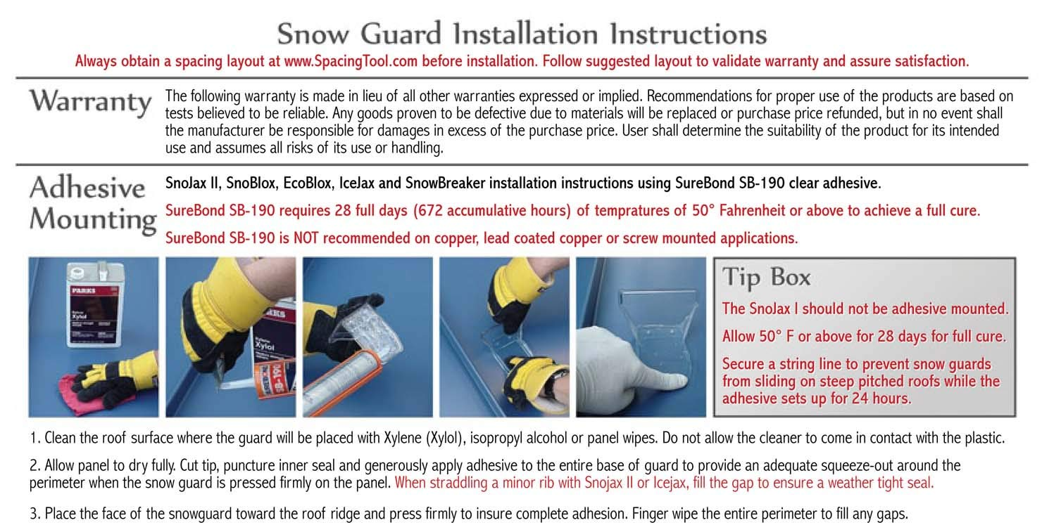 SnowBreaker Snow Guards 25pcs & Adhesive Kit for Metal Steel Standing Seam Roof by SnoBlox
