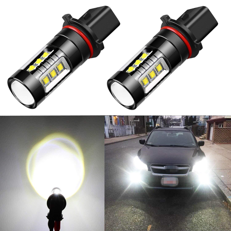 Alla Lighting Extreme Super Bright 12278 PSX26W LED Bulb Fog Light High Power 80W Cree 12V LED PSX26W Bulbs for 12278 H28W PSX26W Fog Light Lamp Replacement, 6000K Xenon White (Set of 2)