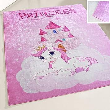 mynes Home Teppich Rosa Kinderzimmer Mädchen Einhorn Prinzessin waschbar  und Anti-Rutsch rücken (120x170 cm)