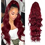 KETHBE 24 Inch Long Body Wave Ponytail hair Extension Synthetic Heat Resistant Wrap Around Drawstring Curly Wavy Ponytail Hai