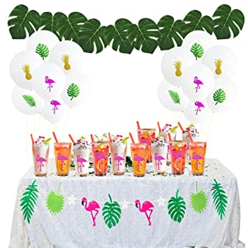 aiernuo hawaii flamingo tropical party decorations kit 8 tropical