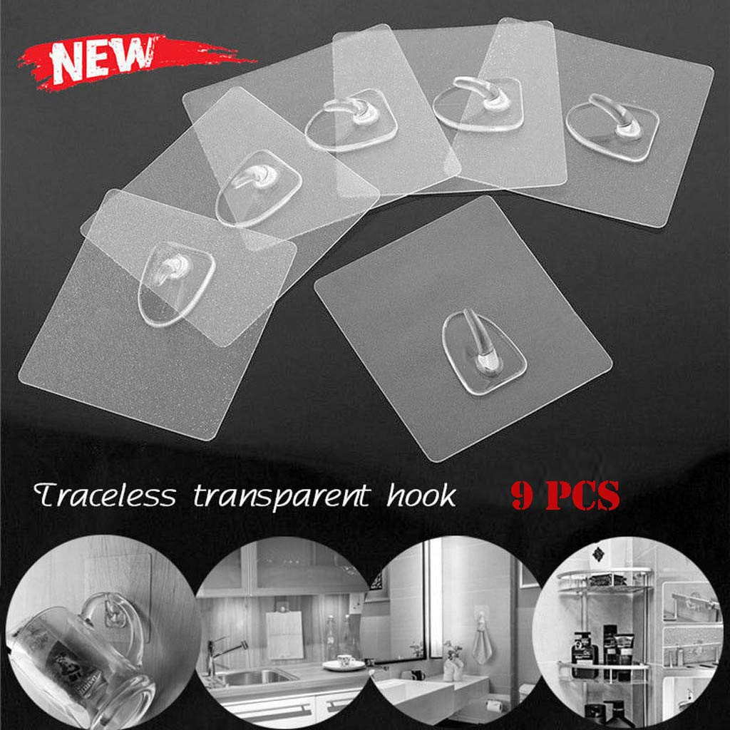 Dacawin Adhesive Hooks - Anti-Skid Hooks - Waterproof, Oilproof, Reusable Transparent Traceless Wall Hanging Hooks for Towel, Keys, Bags, Home, Kitchen, Bathroom (Clean, 9 Pcs)