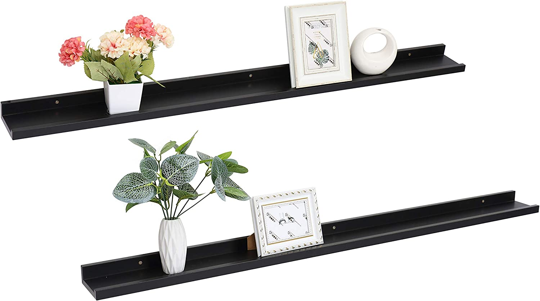 Set of 2 Picture Ledge Floating Frame Shelves Wall Shelf Mounted for Photo Frames Display (Black, 31 inch)