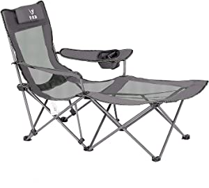 Portable Chair with Footrest Mesh Folding Reclining Camping Chair Headrest for Outdoor 300 lbs