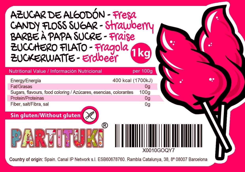 Azúcar para Algodón de Azúcar Partituki. Sabor Fresa. 1 Kg (50 ...