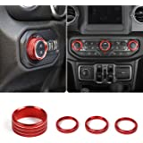 Car Interior Headlight Switch & Air Conditioning Knob Button Ring Trim Cover for Jeep Wrangler JL JLU 2018-2020 (Red)