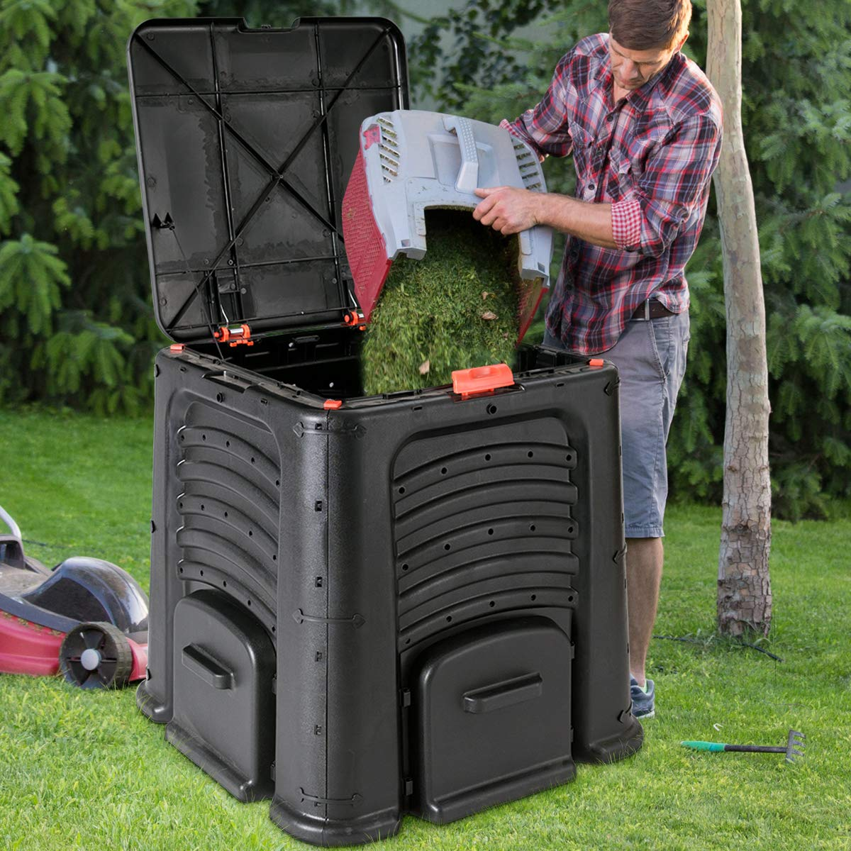 Goplus 105-Gallon Classic Compost Bin Large Garden Waste Bin Grass Food Trash Fertilizer Barrel Soil Saver Outdoor Composter Black Superbuy