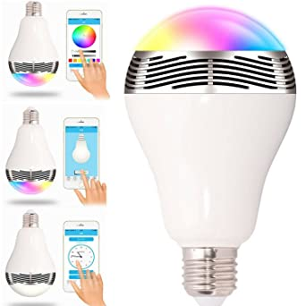 Bombilla LED inteligente con Bluetooth, 6 W, RGBW, bombillas LED regulables para cambio