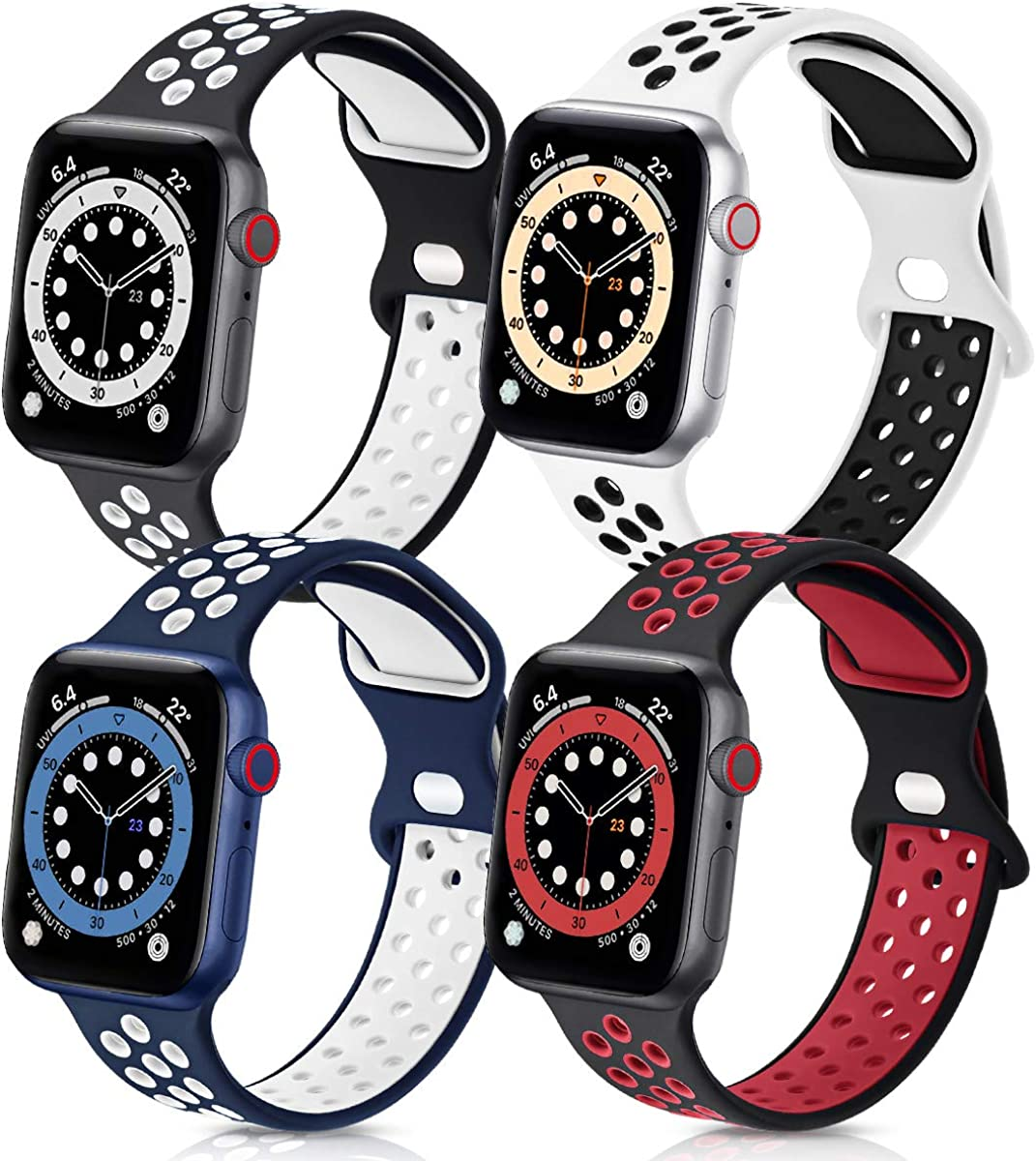 GROGON Compatible with Apple Watch Bands 44mm 42mm 40mm 38mm for Men Women, Silicone Sport Bands Waterproof Breathable Soft Replacement Wristband Strap for iWatch SE Series /6/5/4/3/2/1