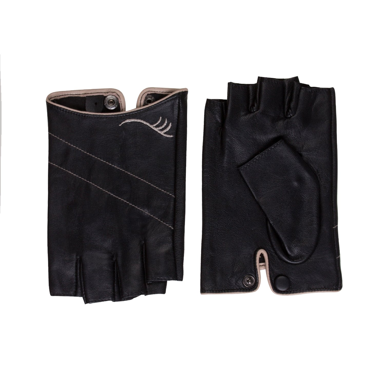 Fioretto Womens Sexy Fingerless Leather Gloves Half Finger Driving Motorcycle Cycling Unlined Ladies Leather Gloves Women's Gift Black M by Fioretto (Image #5)