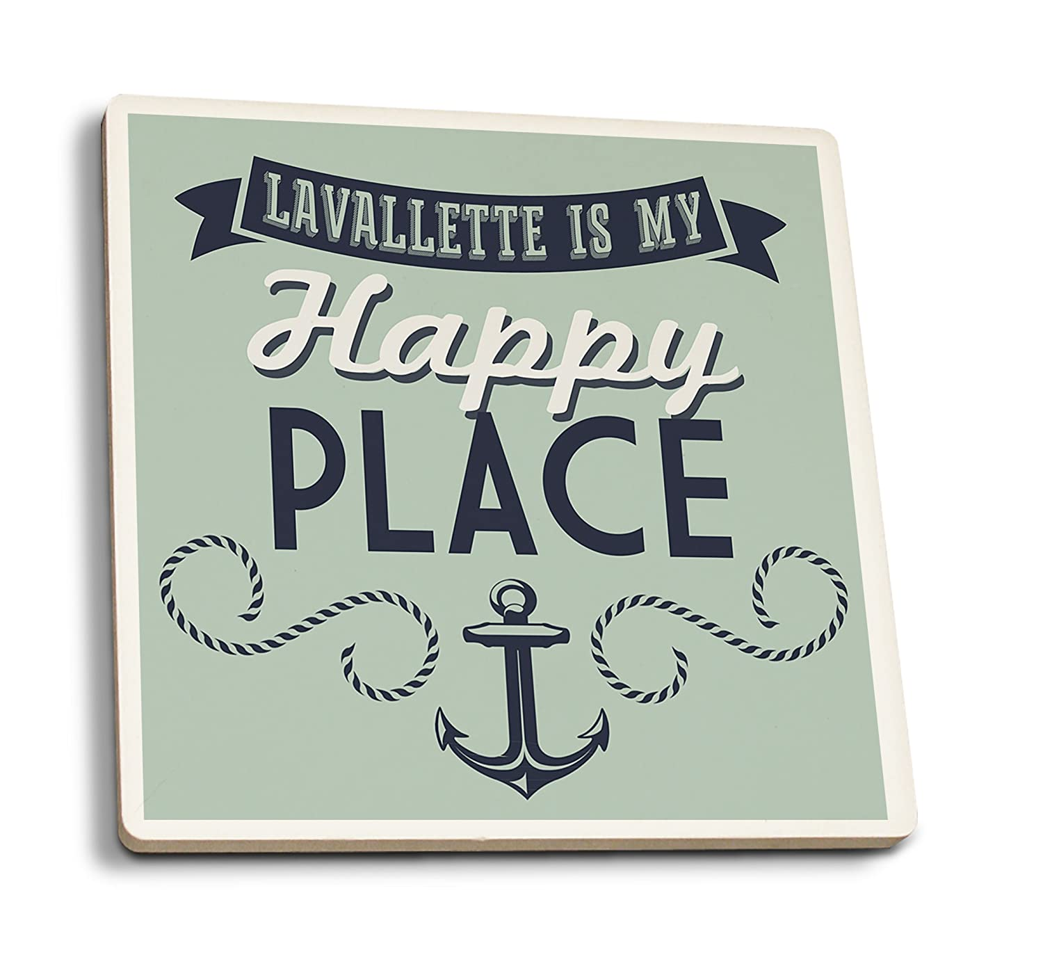 Lavallette、新しいジャージー – LAVALLETTE is my happy place ( # 1 ) 4 Coaster Set LANT-52376-CT B01N8TXV3L  4 Coaster Set