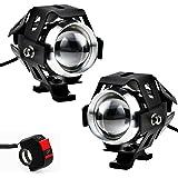 Justech 2 pz Fari Moto LED Faretto Anteriore con Interruttore On Off e Supporto 125 W LED Fanale Lampada CREE U5 Universale per Moto Motocicletta Harley Cruiser Quad Scooter Auto Bici Camion Barca