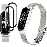 Milomdoi [3 artiklar] 1 silverarmband + 2 pack PET skärmskydd för Xiaomi Mi Band 5, rostfritt stål armband utbyte…