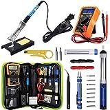 Anbes Soldering Iron Kit 60W Adjustable Temperature Welding Tool, Digital Multimeter, 2pcs Soldering Iron Tips, Desoldering P