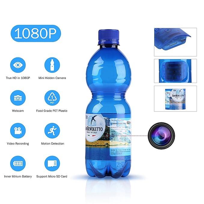 SANNCE 1080P HD Cámara oculta espía botella de agua(grabación de vídeo potable botella de movimiento cámara de seguridad 180mins grabación Soporta ...