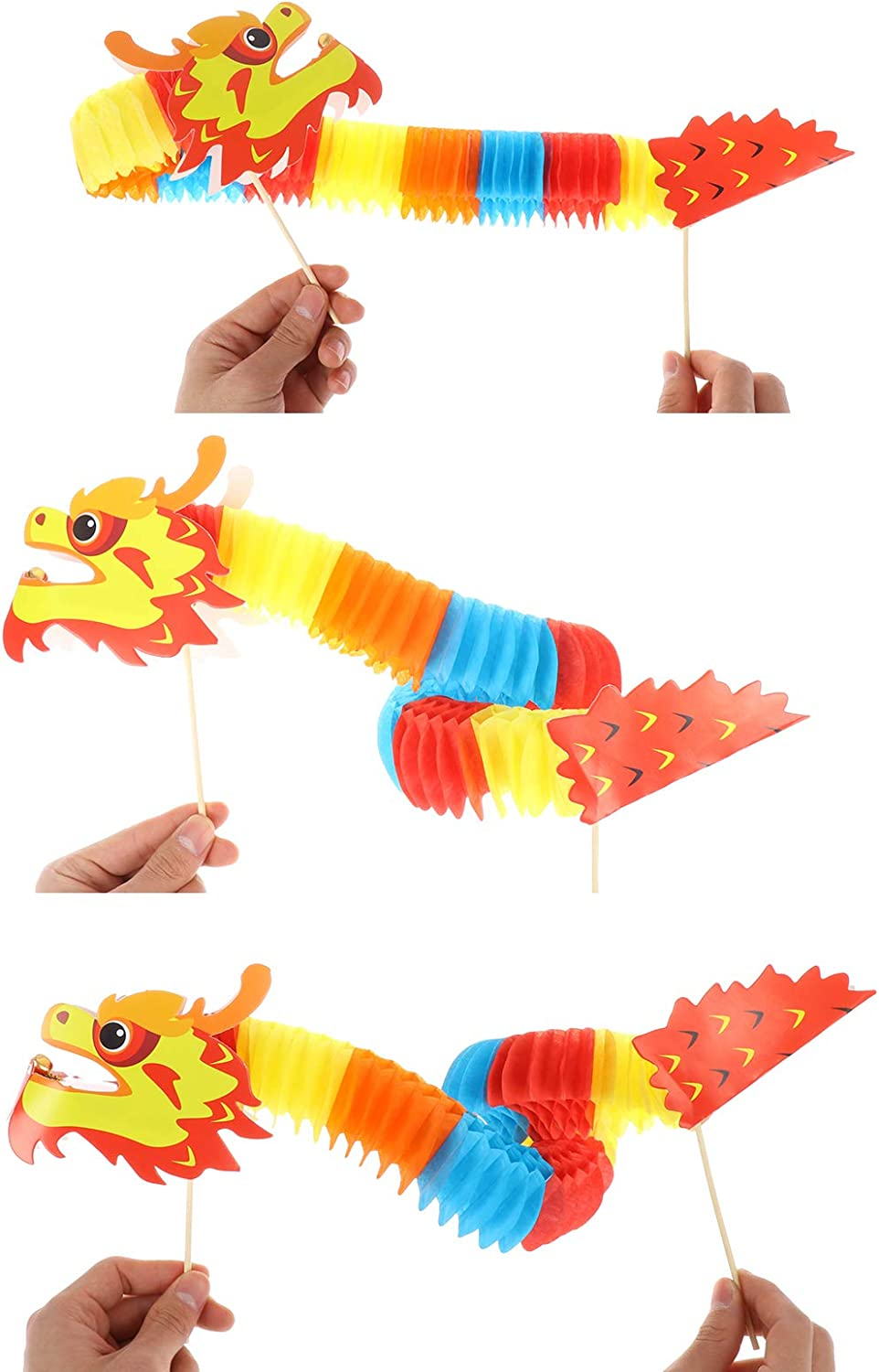 Chinese New Year Paper Dragon Pick Folded Tissue Dragon-4 Styles 3D Chinese Paper Dragon Hanging Garland Crafts Traditional Handheld Red Lantern Toy for Kids Toddlers Chinese New Year Decorations 2021