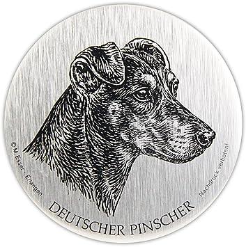 Schecker M Esser Metallplakette Pinscher Selbstklebend Silberfarben Wetterfest Esser Haustier