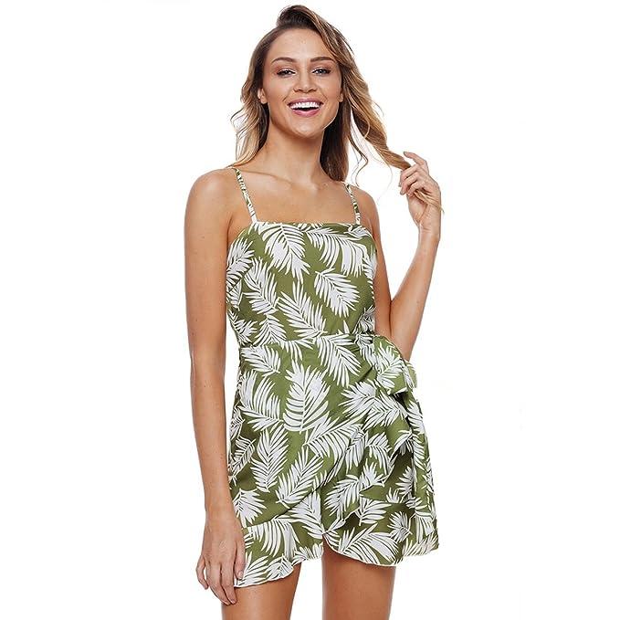 LIAN Vestido de playa verano sin mangas honda imprimir pliegues sol ...