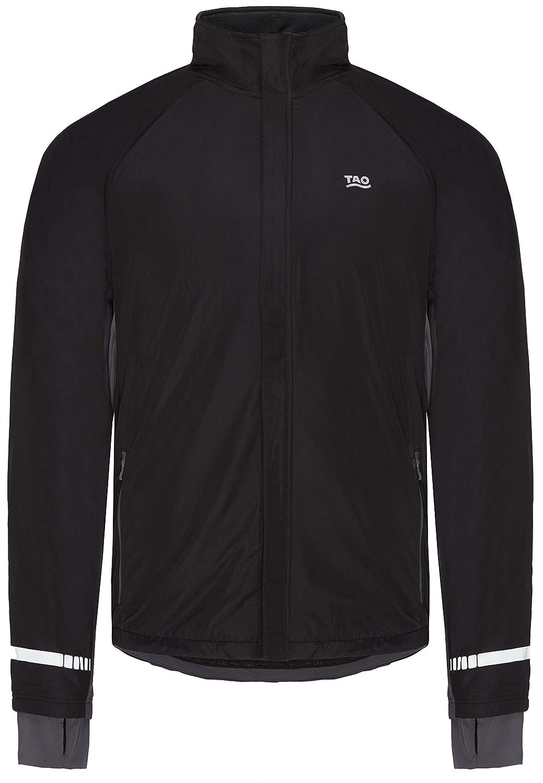 TAO Sportswear, zentour ION Coating Jacket Veste d'hiver de Course, Chaud et Respirantes avec Polaire Utilisation au Dos et Windstopper dans Le domaine Avant, Noir/Gris