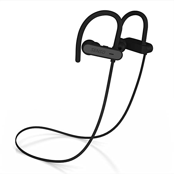 Review Senso ActivBuds Bluetooth Wireless Headphones, Durable IPX7 Waterproof Sports Earphones w/Mic, HD Sound w/Accurate Bass, Secure Comfort Fit Earbuds for Running, Noise Cancelling Sweatproof Headsets