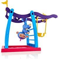 Fingerlings Playset Monkey Bar Playground + Liv the Baby Monkey (Blue with Pink Hair)