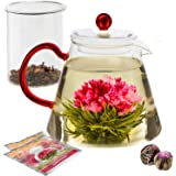 Teabloom Amore Glass Teapot Gift Set – Stovetop Safe Glass Teapot with Removable Glass Infuser – (34 OZ / 1000 ML / 3-4…