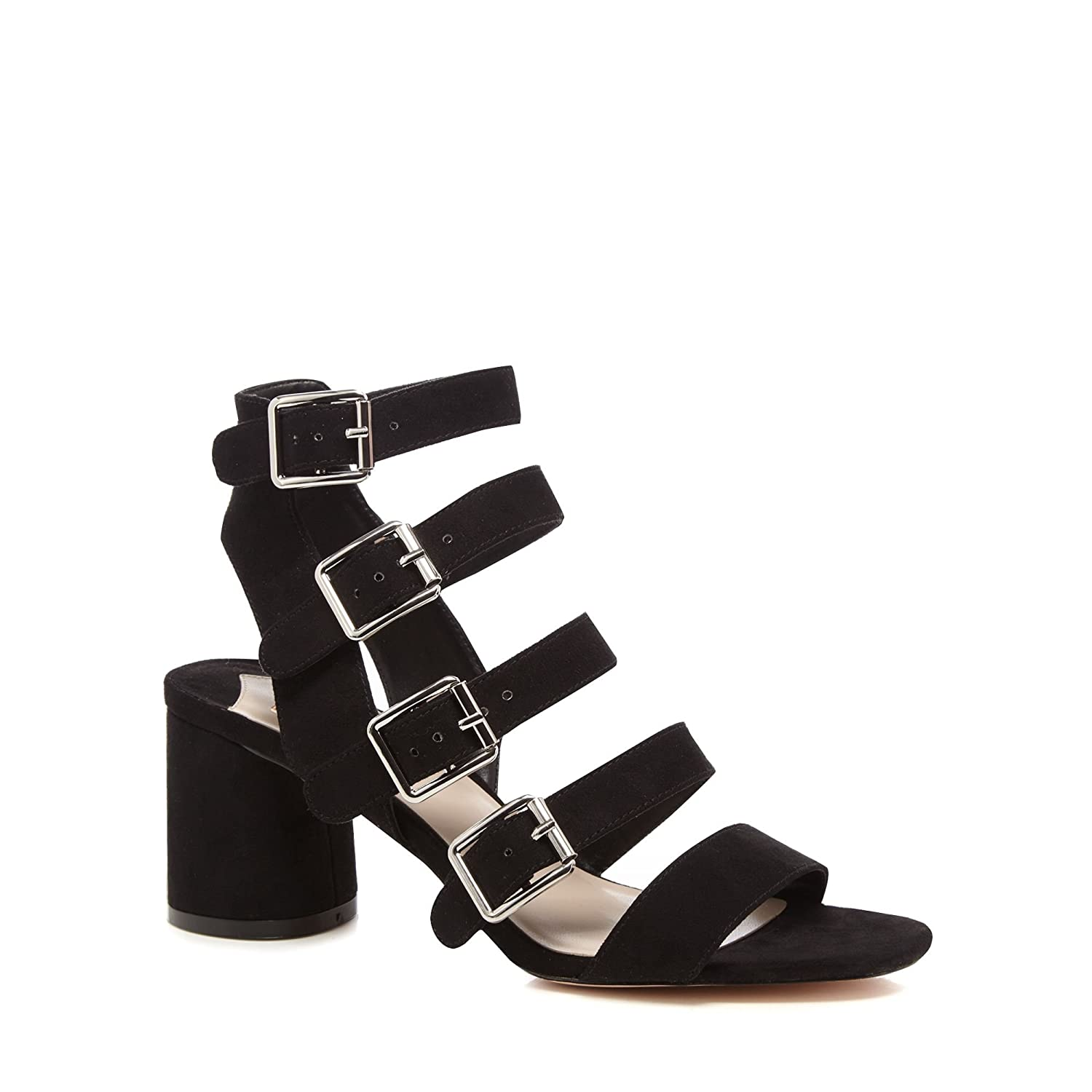 Black suedette 'Dishy' mid block heel ankle strap sandals cheap find great sale eastbay clearance authentic sale store buy cheap best prices NBWGh3EN3z