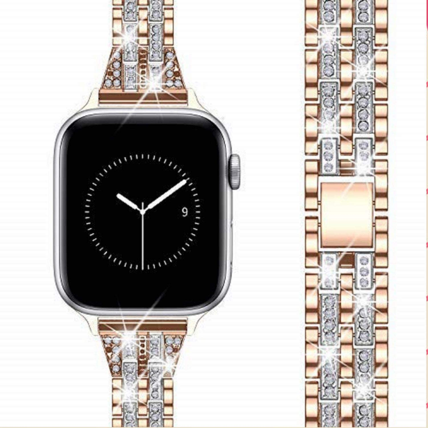 TOWOND Bling Band Compatible with Apple Watch Band 38mm 40mm Women, Jewelry Metal Diamond Bracelet Replacement for iWatch Band Series 6/5/4/3/2/1/SE, Wristband Strap Stainless Steel Metal Watch Bands