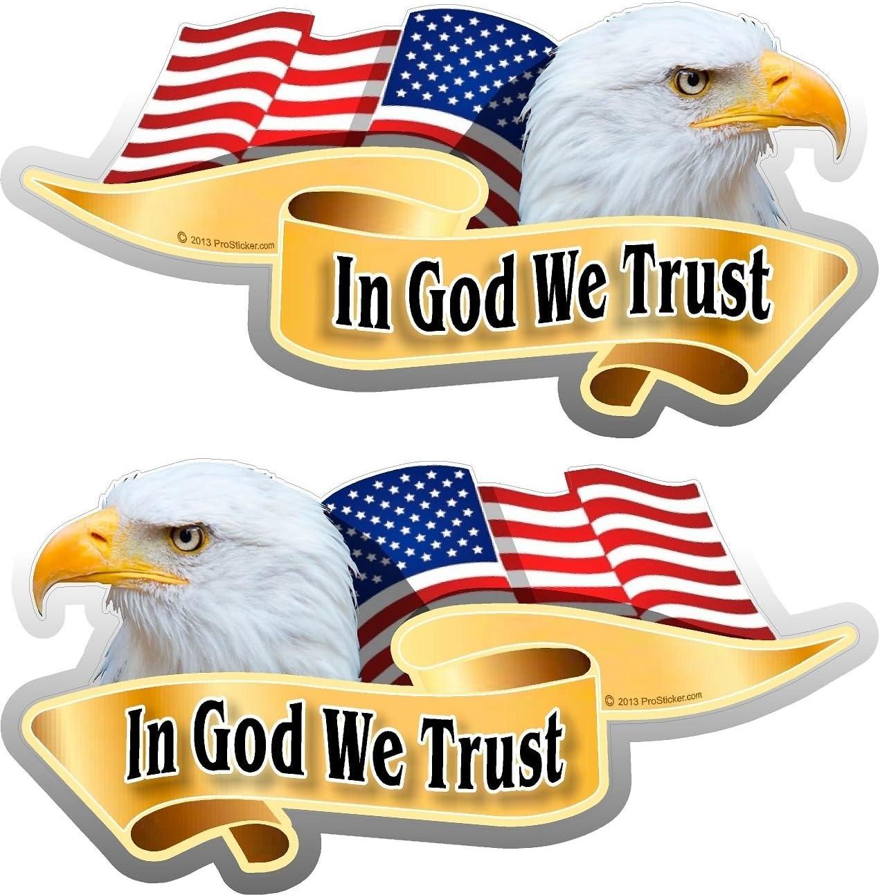 "One Pair ProSticker 906.2M 2/""x 4/"" In God We Trust American Decals Stickers"