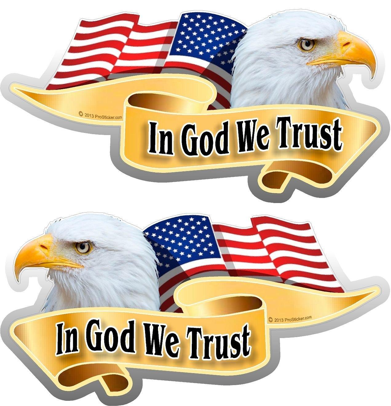 "One Pair ProSticker 906.3M 3/"" x 6/"" American In God We Trust Decals Stickers"