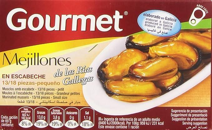 Gourmet Mejillones en Escabeche de las Rías Gallegas - 69 g: Amazon.es: Amazon Pantry