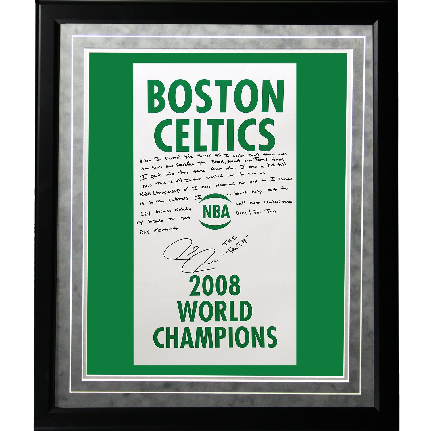 NBA Boston Celtics Framed 16x20 Paul Pierce Facsimile '2008 Champions Banner' Story Photo by Steiner Sports