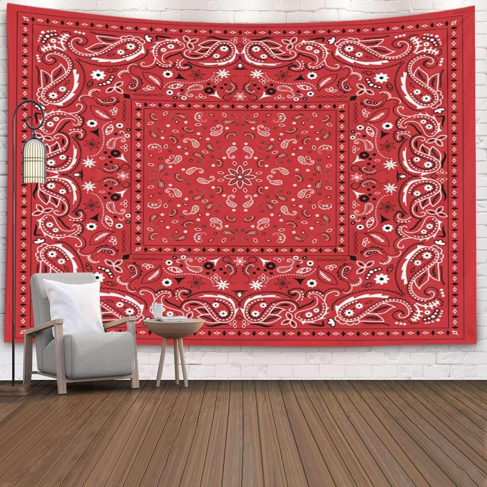 Pamime Wall Bed,Home Decor Tapestry Pattern Black White Three Four Clover Leaves Doodle Illustrati Adult Dorm Room Bedroom Living Room 80X60 Inches(200X150Cm) Bedspread Inhouse,Red White 3