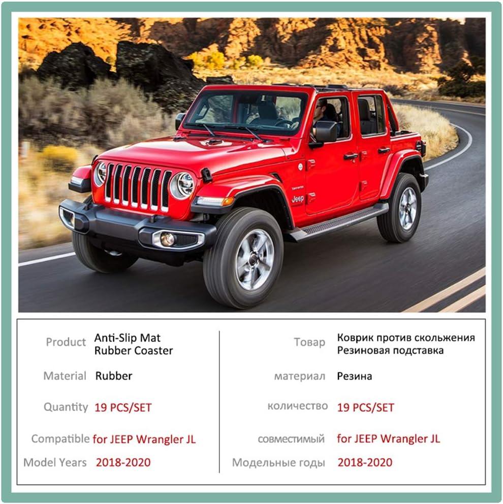 per Cuscino Antiscivolo in Gomma per Porta per Jeep Wrangler JL 2018~2020 2019 Sport S Sahara Rubicon Groove Mat Accessori Interni per Auto Interni Auto