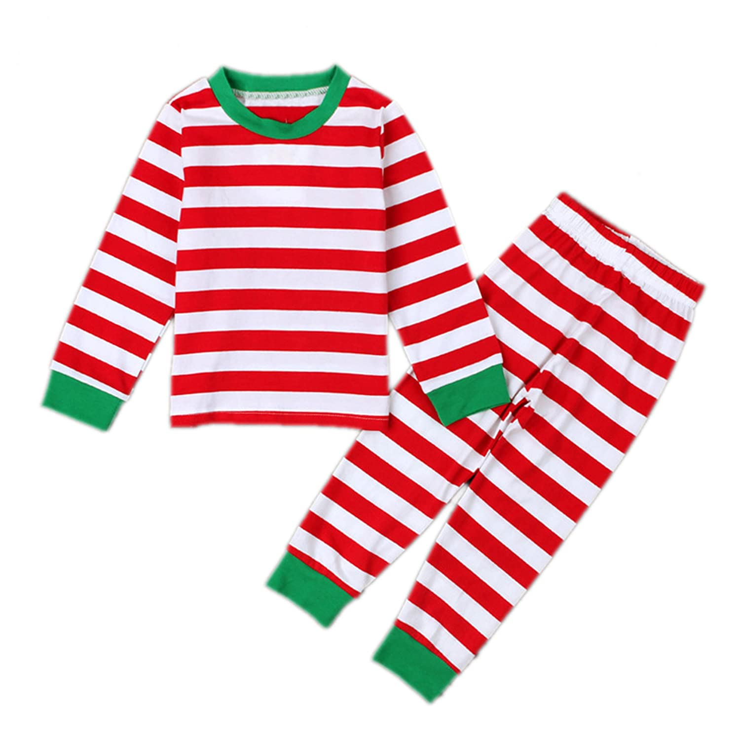 Pettigirl Kids Christmas Pajamas Stripes Outfits Shirt + Pants Homewear Pajamas Sets U-NBCS1010-1126-CA
