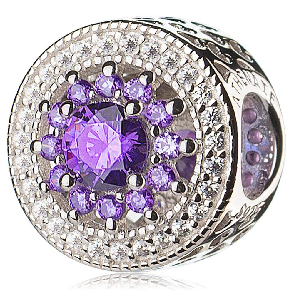 Purple ATHENAIE 925 Sterling Silver Plated Platinum with Pave Clear CZ & pink Red Heart Radiant Openwork Charm Beads