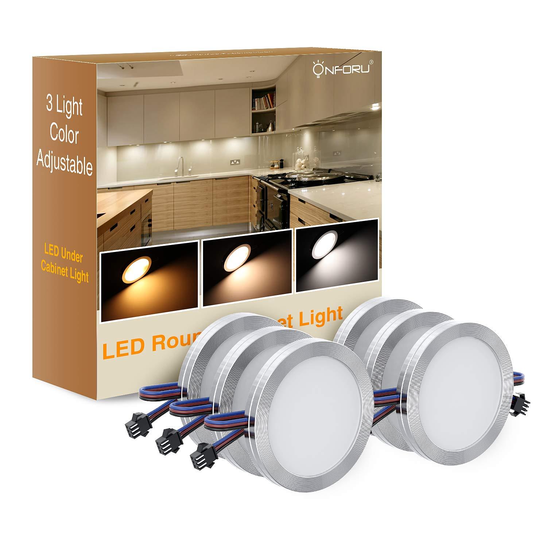 Onforu 6 Lampe LED de Placard, Lumière Réglable Blanche Chaude/Froide/Neutre, 10 Niveaux de Luminosité Dimmable, 1080LM, Veilleuse LED 12V, Elairage Sous Meuble pour Cabinet, Etagère, Cuisine, Armoire Etagère