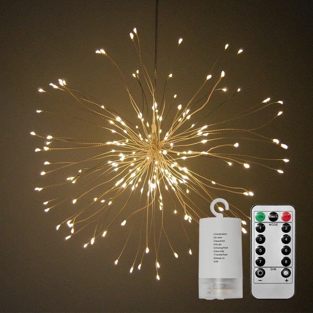 Straußgeformte LED-Lichterkette, ATKKE 150 LEDs, Feuerwerk Spray ...