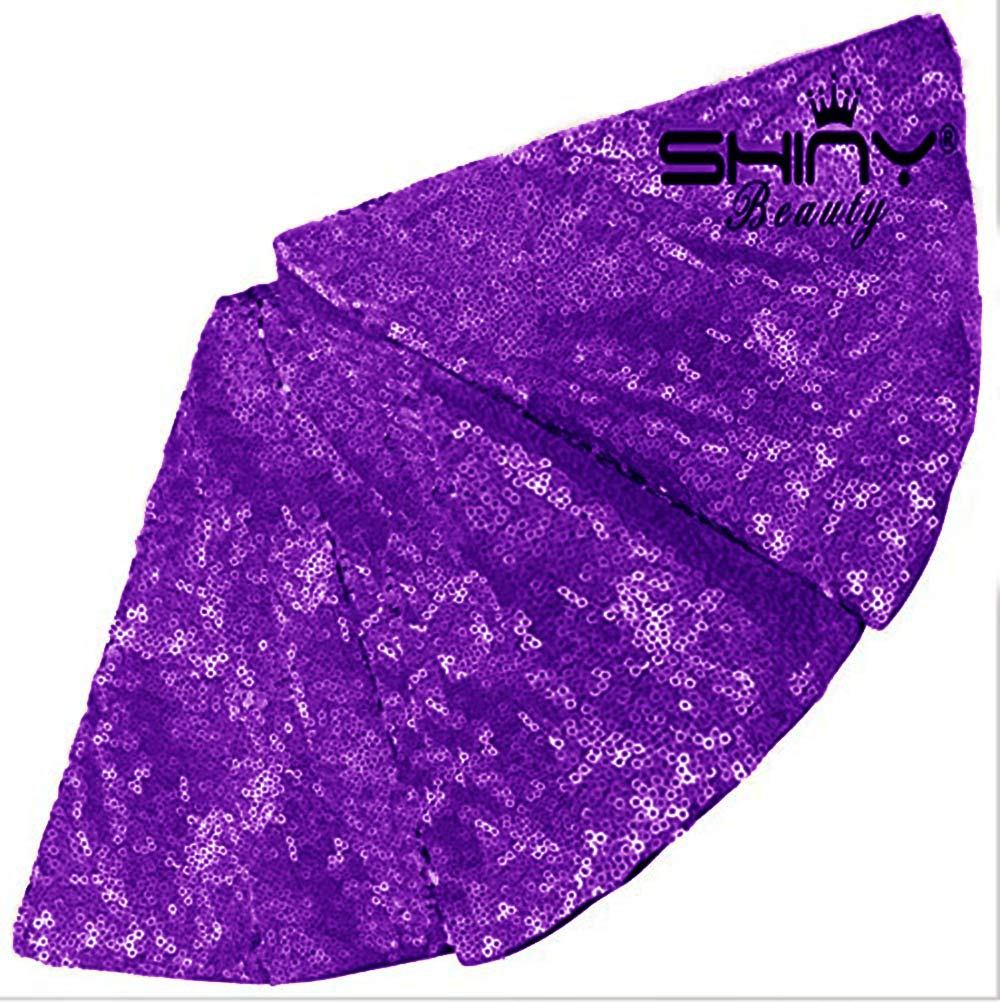 ShinyBeauty 48-Inch Embroidery Sequin Christmas Tree Skirt, Purple by ShinyBeauty