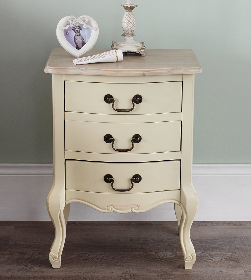 Juliette shabby chic champagne 3 drawer bedside table french cream juliette shabby chic champagne 3 drawer bedside table french cream bedside cabinet with limed finish top fully assembled amazon kitchen home watchthetrailerfo