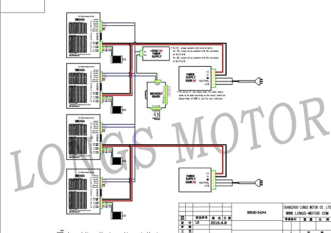 4 axis nema 23 stepper motor 425 oz in driver dm542a peak 4 2a rh amazon com Basic Electrical Wiring Diagrams 3-Way Switch Wiring Diagram