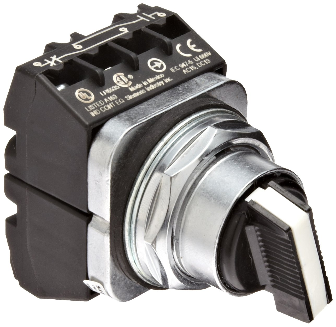 Siemens 52SA2CABA2 Heavy Duty Selector Switch Unit, Water and Oil Tight, 3 Positions, Short Lever, Maintained Operation, C Cam, 2NO + 2NC Contact Blocks