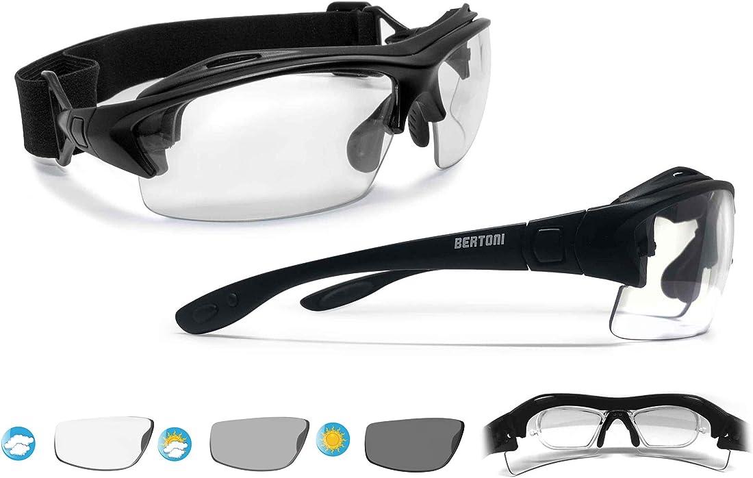 Occhiali sportivi da vista regolabili bertoni  per ciclismo running moto sci skydiving tennis AF399