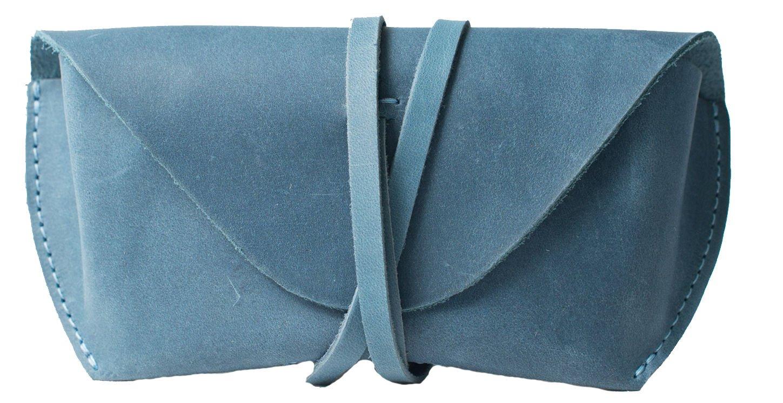 InCarne Stylish leather eyeglasses case soft leather eyeglass holder soft glasses pouch (02003) (Light Blue)