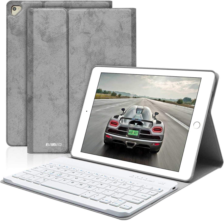 BAIBAO Teclado para iPad 2018, Funda Teclado Inalámbrico para iPad Air 2/1/9.7/2018(6th Gen)/2017 con Teclado Bluetooth Español,Funda para iPad con Teclado Desmontable (Gris)