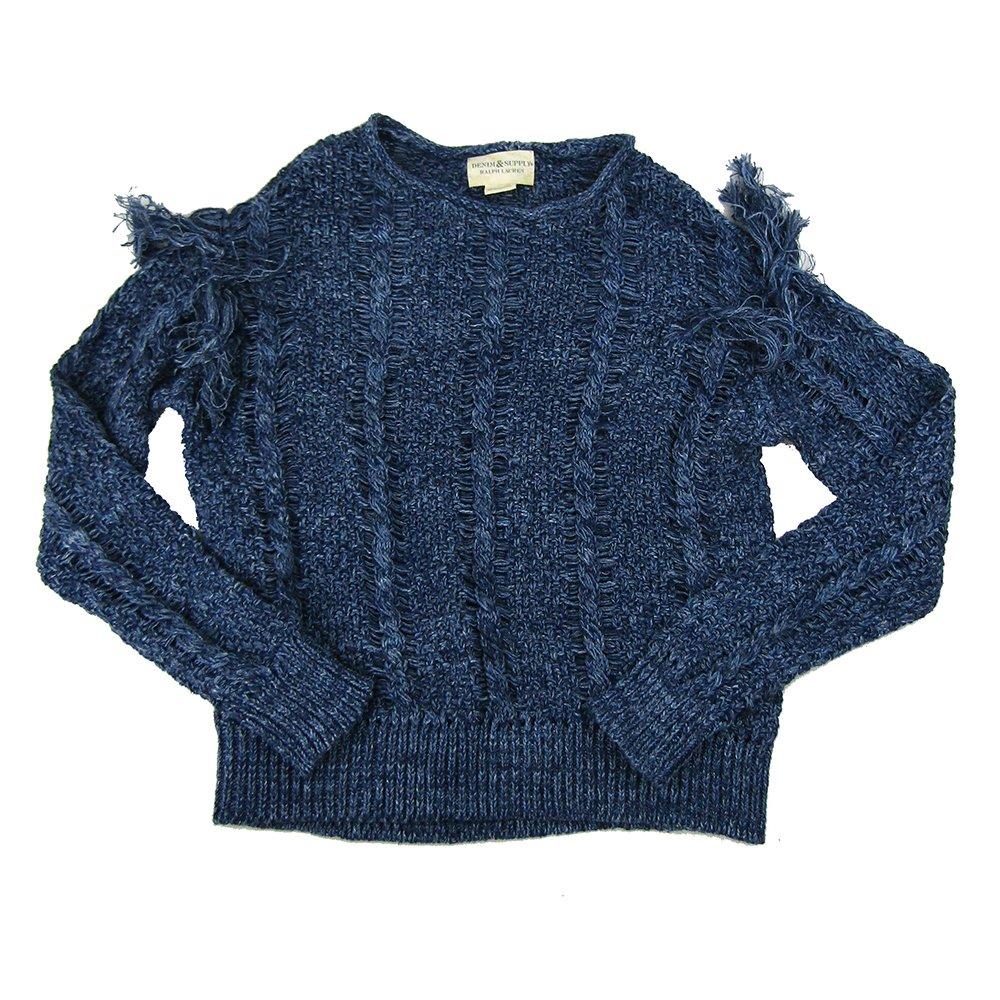 Denim & Supply Ralph Lauren Women's Fringed Cotton Sweater (Blue, X-Small)