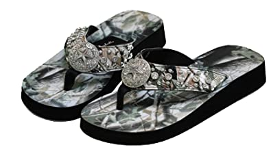 f5fccf36add1 Women Flip Flop Flat Camo Western Star Camouflage Slipper Rhinestone Sandals  (S