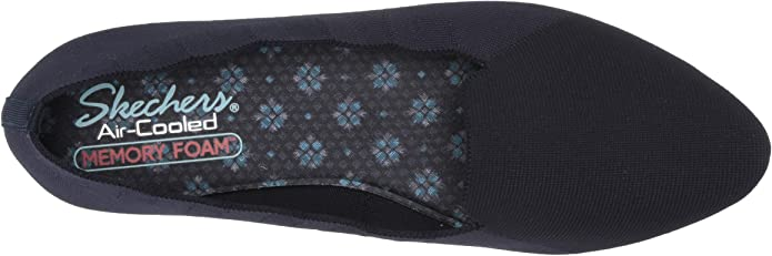 Skechers Cleo Movie Date Scallop Collar Engineered Knit Loafer Skimmer, Ballerine Basse Donna