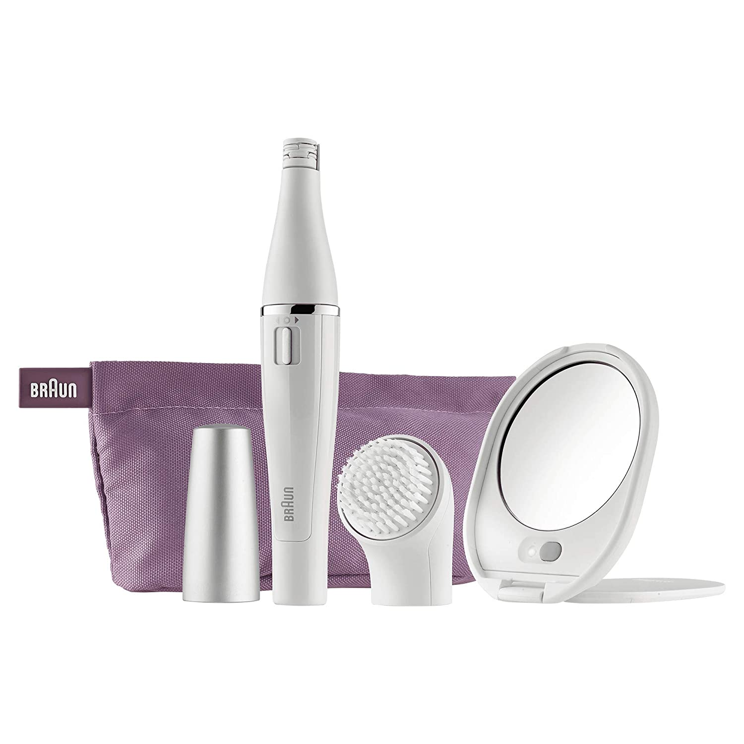 Braun FaceSpa Premium Edition SE830 Face Epilator with Facial Cleansing Brush and Lighted Mirror