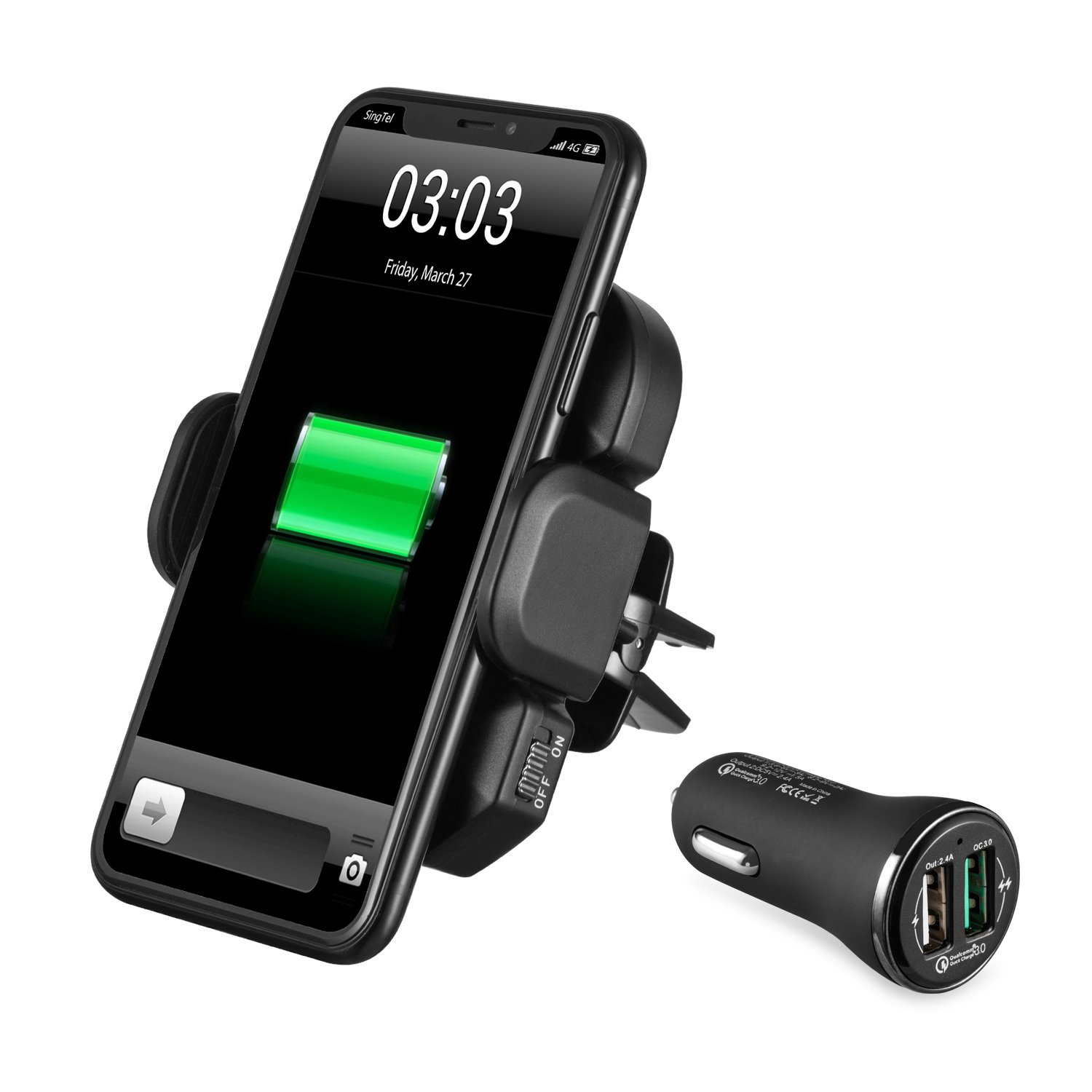 IKOPO Automatic Wireless Car Charger,Phone Holder for Car Mount Fast Charge for Samsung Galaxy S8, S7/S7 Edge, Note 8 5 &Standard Charge for iPhone X,8/8 Plus &Qi Enabled Devices (Black)
